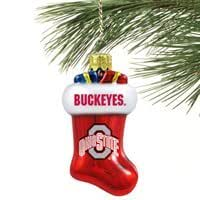 Ohio State Buckeyes Glass Stocking Ornament