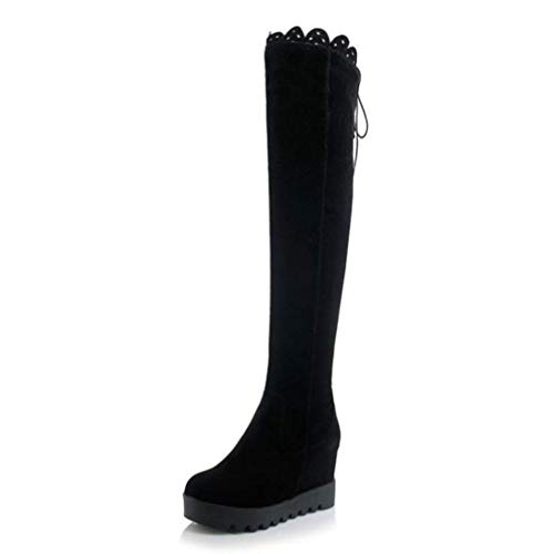 (Ladies Thick Platform Height Increasing Wedges Winter Boots for Women Ruffles Back Strap Zip Over Knee Botas Size 34-43)