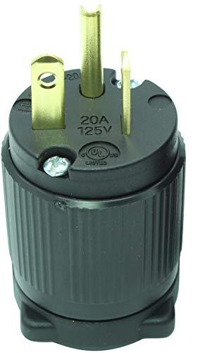 Journeyman-Pro 520PV 20 Amp 120-125 Volt, NEMA 5-20P, 2Pole 3Wire, Straight Blade, Male Plug Replacement Cord Connector Outlet, Commercial Grade PVC (BLACK 1-PACK)
