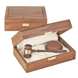 11'' Judge's American Walnut Gavel with Sound Block in Walnut Case by Gavel