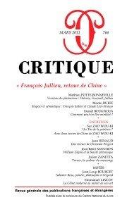 Critique, N° 766, Mars 2011 : François Jullien, retour de Chine par Revue Critique