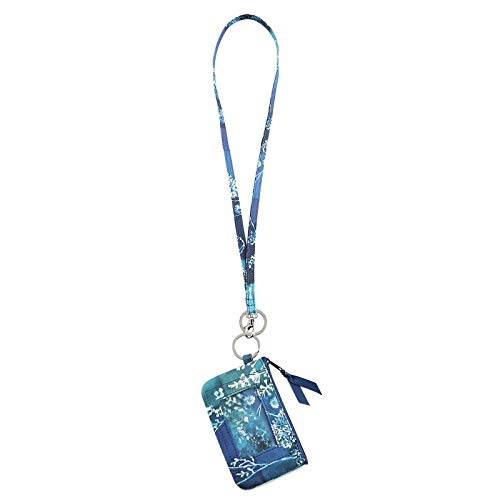 Lam Gallery Fashion Lanyard Wallet for Womens Zip ID Card Case with Wallet Badge Holder Lanyards for Office School(Multicoloured Dark Blue)
