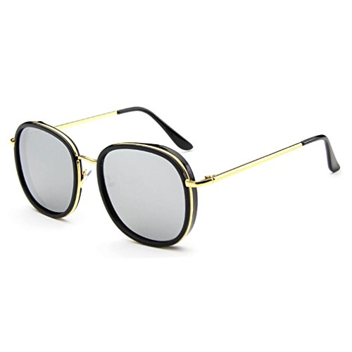 [LOMOL Womens Trendy Metal Frame Reflective Lens UV Protection Personality Round Sunglasses(C3)] (Make Black Widow Costumes)