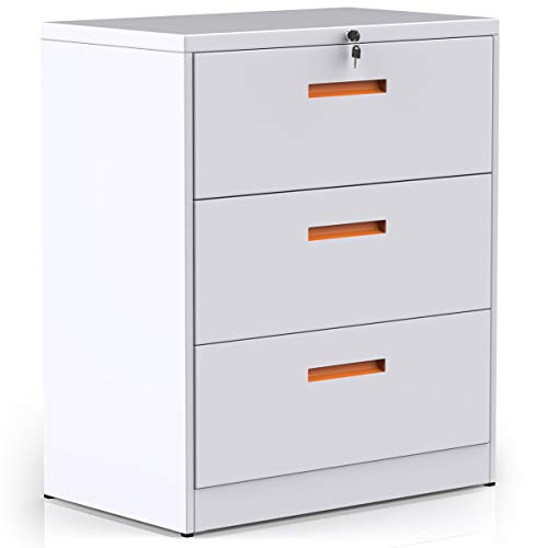 (ModernLuxe Mobile File Cabinet Lockable, 3 Drawer Lateral Filing Cabinet with Lock,)