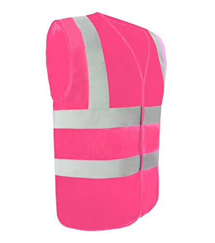 Safety Vest Reflective stripes Safety knitted Vest Bright Construction Workwear for men and women. (Medium, pink) (Pink Womens Safety Vest)