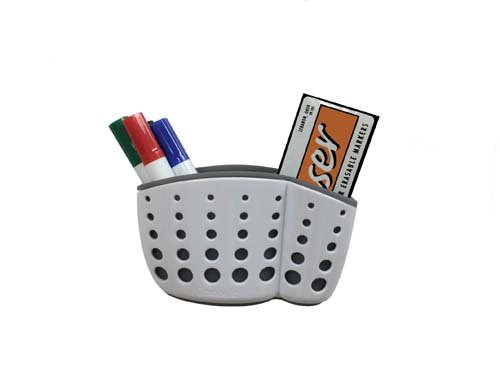 Ghent Manufacturing ASB54WH1 Accessory Basket with Suction Cups44; 4 Markers & Eraser - White from Ghent