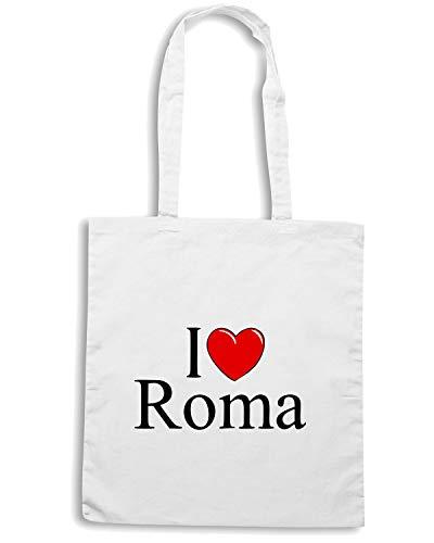 Borsa Shopper Bianca TLOVE0048 I LOVE HEART ROMA