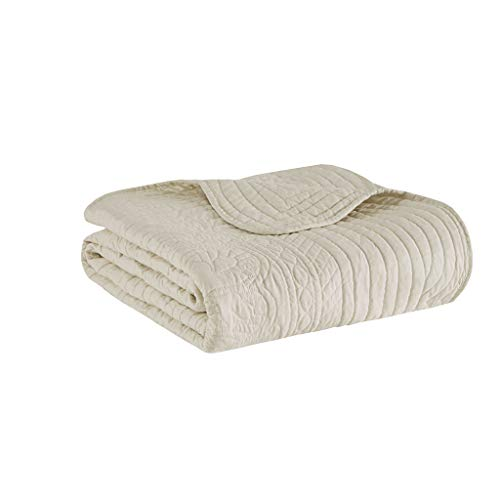Madison Park Tuscany Luxury Oversized Quilted Throw with Scalloped Edges Ivory 60x72   Quilted Premium Soft Cozy Microfiber For Bed, Couch or Sofa
