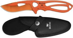 Buck Knives 0140ORS PAKLITE SKINNER Fixed Blade Knife with Orange Traction Coat and Sheath ()