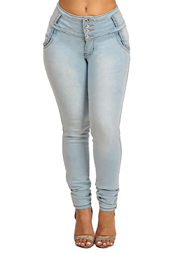 ModaXpressOnline Mid Rise Light Wash Butt Lifting 4 Button Skinny Jeans 10780T
