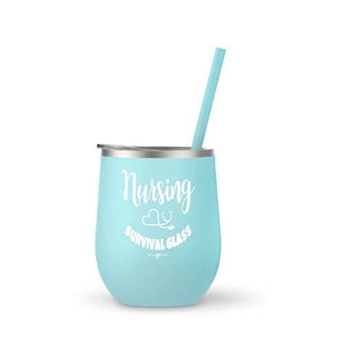(Nursing Graduation Gifts for Women Nursing Survival Glass Nurse Stemless Wine Tumbler Idea Blue 0167)