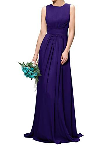 (Women's Long Chiffon Evening Dresses Jewel Neck Formal Prom Gown Regency US8)