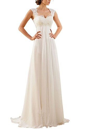 Erosebridal - Vestido de novia sin mangas, gasa y encaje Beige