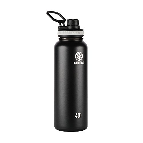 Takeya Originals Vacuum-Insulated Stainless-Steel Water Bottle, 40oz, Black by Takeya