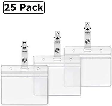25 Clear Vinyl PVC Strap Clips Photo ID Badge Straps