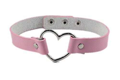 Flongo Women Girls Vintage Gothic Ribbon Collar Heart Shape Choker Necklace