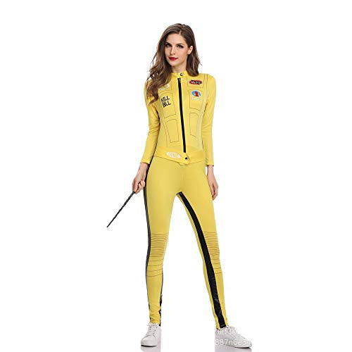 BaronHong Sexy Race Car Driver Jumpsuit Adult Role Play Costume(Yellow,M)]()