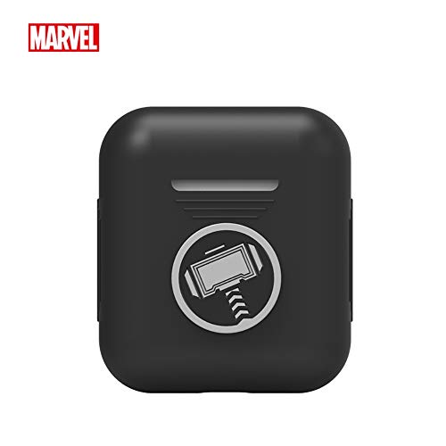 (Marvel Avengers Endgame AirPods Case Protective Silicone Cover and Skin Compatible with Apple Airpods 1 & AirPods 2 [Front LED Not Visible], Thor (Black))