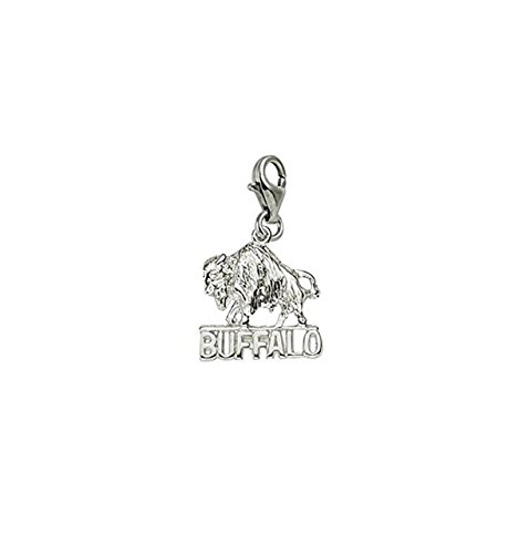 14k Gold Buffalo Charm (14k White Gold Buffalo Charm With Lobster Claw Clasp, Charms for Bracelets and Necklaces)