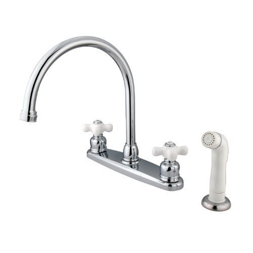 Kingston Brass KB721PX Vintage Gooseneck Kitchen Faucet with Porcelain Cross Handle with Sprayer, Chrome by Kingston Brass ()