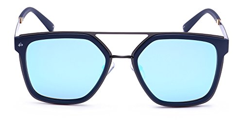 "PRIVE REVAUX ""The Bomb"" Handcrafted Designer Oversized Polarized Sunglasses (Black/Blue)"