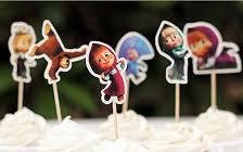 Price comparison product image Masha And The Bear Cupcake Toppers Masha Bear Baby Shower Birthday Party Picks (Pack of 24)
