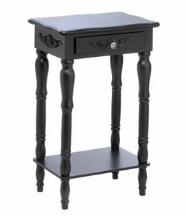 SKB Family Black Carved Side Table Colonial Drawer New 28