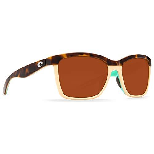 Costa Del Mar Women's Anaa Polarized Cateye Sunglasses, Retro Tortoise/Cream/Mint, 55.4 ()