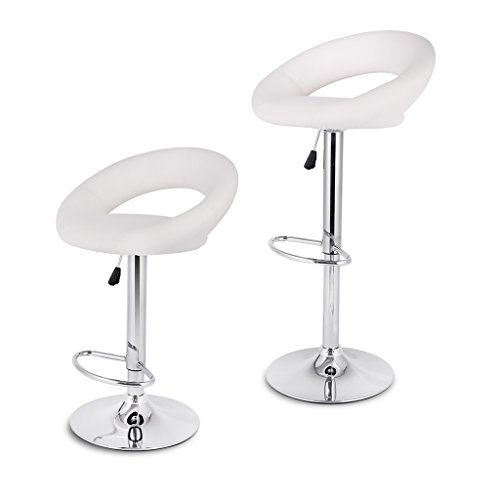 LANGRIA White Bar Stools Sets Adjustable Swivel Counter Height Stools with Leatherette Exterior, Chrome Plated Footrest and Base for Bar, Counter or Home,(2 PCS) (Padded Counter Height Bar Stools)