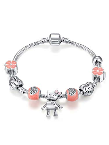 Qings Pink Lovely Robot Silver Plated Bead Bracelet as Birthday Gift for Granddaughter and Little Girls
