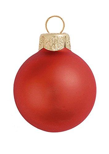 12ct Matte Fire Orange Glass Ball Christmas Ornaments 2.75
