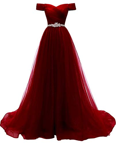 Women's A-line Tulle Prom Dresses Off The Shoulder Formal Evening Ball Gown (Burgundy 06)