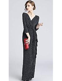 Ababalaya - Vestido de noche para mujer, elegante, con lentejuelas, cuello en V, delgado, con volantes, maxi formal