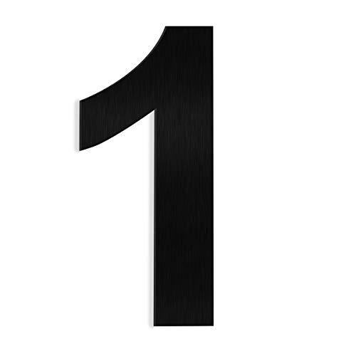 """Barton 6"""" House Letter Number Black Solid Stainless Steel Satin Finishing Floating House Home Number (Number 1)"""