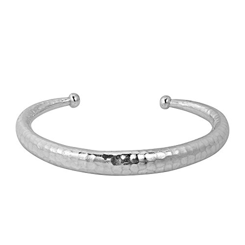 Simplicity Hammered Karen Hill Tribe Handmade Silver Adjustable Cuff (Hill Tribe Silver 7mm)
