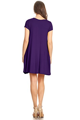 Eggplant with Casual Plus USA and Pockets Shirt Dress Reg Tunic T for Flowy Dress Size Women Z8q4Zw
