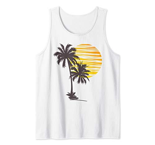 Sunset Beach Palm Tree TShirt Cute Summer Vacation Holiday Tank Top