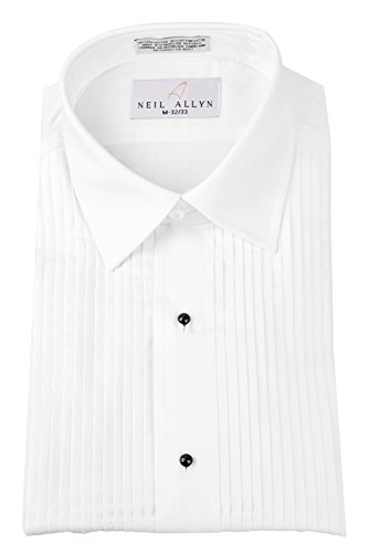 Neil Allyn Mens Tuxedo Shirt Poly/Cotton Laydown Collar 1/4 Inch Pleat (16 X 32-33)White ()