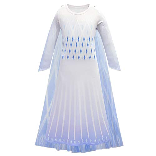 CosplayDiy Girl's Princess Inspired Snow Queen Elsa Party Cosplay Costume Dress Age 3+ (White Dress Only, 130)