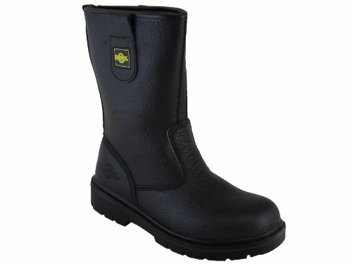 Mens Safety Rigger Boots Fur Lined Work Steel Toe-Cap Steel Midsole For Underfoot Protection Highly Durable Oil Resistant for Extra Protection Safety Accredited to EN ISO 20345 Workwear Boot Leather Black rwlm2Yf