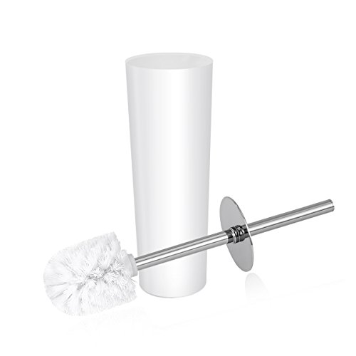 OUNONA Toilet Brush and Holder Set Good Grip Compact Toilet Bowl Cleaner Modern Design Bath Scrubber Set for Bathroom Toilet (White)