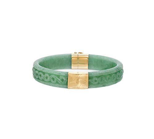Regalia by Ulti Ramos 14K Yellow Gold Genuine Jade Hand Carved Bangle Bracelet
