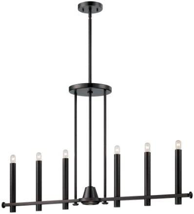 Nuvo Lighting 60 5242 Telegraph Six Light Island Pendant with Downlight 40 Watt T9 Vintage S2420 Lamps Included Aged Bronze Fixture