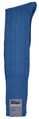 - 1 Pair Over-the-Calf ExtraFine Merino PinStripe Dress Socks - Made In Italy - Medium/Blue