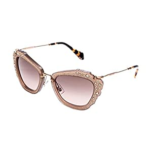 Miu Miu MU04QS MAR3D0 Opal Beige Noir Cats Eyes Sunglasses Lens Category 2 Size