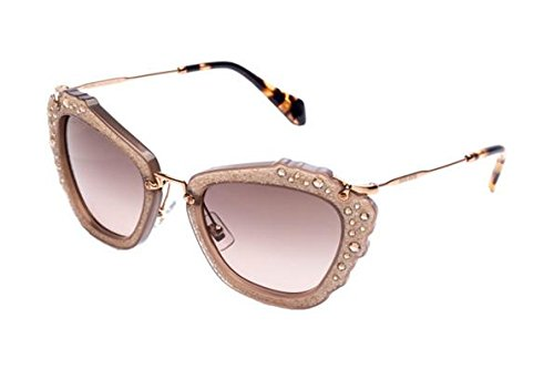 Miu Miu MU04QS MAR3D0 Opal Beige Noir Cats Eyes Sunglasses Lens Category 2 - Sunglasses Miu Miu Mens