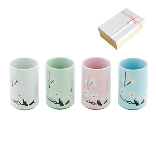Umeware Best Handmade Japanese Ceramic Teacups Set Gift For Parents, Friends And Tea Lovers, Ceramic Tea Cups Of 4 200ml/6.7oz