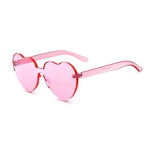 Heart Shaped Rimless Sunglasses Candy Steampunk Lens for women -