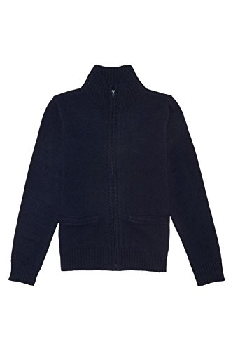 French Toast Big Boys Zip Front Sweater, Navy, Medium/8 (Boys Uniform Sweater)