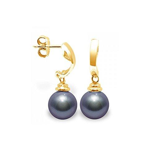 Boucles d'Oreilles Perle de Culture d'eau douce Noire et or jaune 375/1000 -Blue Pearls-BPS K343 W
